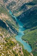Beautiful landscape of the Verdon Gorge and river Le Verdon in s - stock photo
