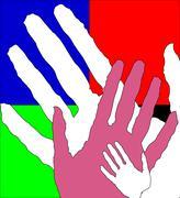 Children's and adult hands together Stock Illustration