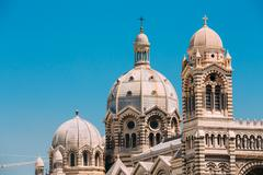 Domes of Cathedral de la Major in Marseille, France. Sunny summe - stock photo