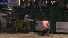 Rodeo cowboy riding bucking horse successfully, other riders assisting his Stock Footage