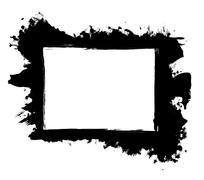 Dirty, stained paint stroke grunge rectangle frame - stock illustration