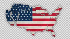 USA Map - States Combine - With Transparency Stock Footage
