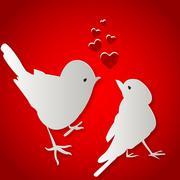 Birds kissing on Valentine's Day Piirros