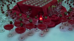 Cocktails table and a candle Stock Footage