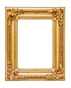 Rectangle decorative golden picture frame Stock Photos