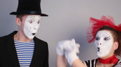 Two Mimes Depicts bird Stock Footage