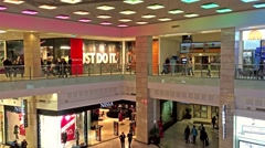 People Crowd Rush In Shopping Luxury Mall Interior - stock footage