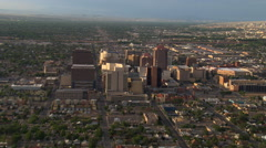 Approaching the high-rises of downtown Albuquerque. Shot in 2008. - stock footage