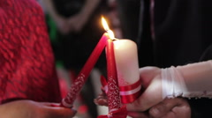 Candle in the hands Stock Footage