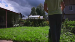 Man is cutting a lawn Stock Footage