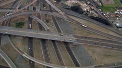 Orbiting complex I-40/I-25 interchange near Albuquerque. Shot in 2008. Stock Footage
