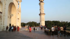 Tourists walking through the courtyards of Taj Mahal. Stock Footage