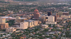 Mid-level flight past downtown Albuquerque. Shot in 2008. - stock footage