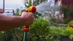 Farmer is watering plants Stock Footage
