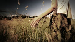 Stock Video Footage of Woman walking touching long grass in field in summer - sepia style grading