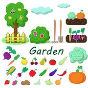 Garden with fruits and vegetables Stock Illustration