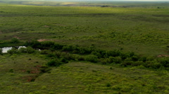 Flying above green Texas prairie Stock Footage
