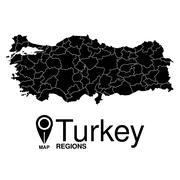 Regions map of Turkey. Turkey - stock illustration