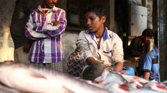 Traditional indian women in saris at fish market in Mumbai, India Stock Footage