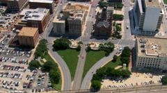Aerial view of Dealey Plaza, Dallas, Texas. Shot in 2007. Stock Footage