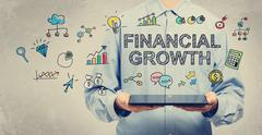 Financial Growth concept with young man holding a tablet - stock illustration