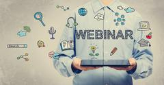 Webinar concept with young man holding a tablet - stock illustration