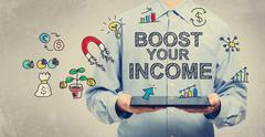 Boost Your Income concept with man holding tablet - stock illustration