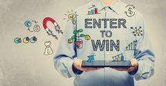 Enter to Win concept with man holding a tablet - stock illustration