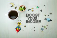 Boost Your Income concept with a cup of coffee Stock Illustration