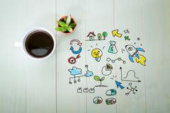Creativity concept with a cup of coffee Stock Illustration