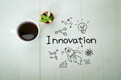 Innovation concept with a cup of coffee - stock illustration