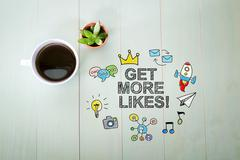Get More Likes concept with a cup of coffee - stock illustration