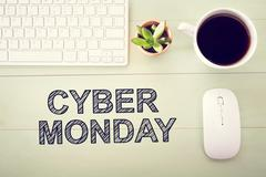 Cyber Monday message with workstation Stock Illustration