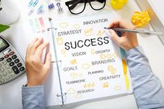 Person drawing Success concept on white paper Stock Photos