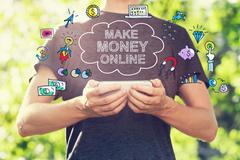 Make Money Online concept with young man holding his smartphone - stock illustration