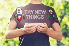 Try New Things concept with young man holding his smartphone - stock illustration