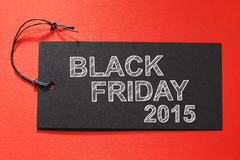Black Friday 2015 text on a black tag - stock photo