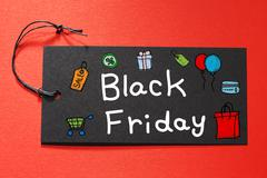 Blank Friday text on a black tag - stock photo