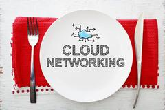 Cloud Networking concept on white plate with fork and knife - stock illustration
