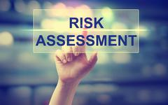 Hand pressing Risk Assesment - stock photo