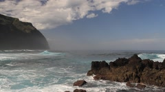 Big waves of the atlantic ocean at Porto Moniz Stock Footage