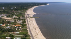 Along Beach Drive an aerial view of entire neighborhoods destroyed by Hurricane Stock Footage