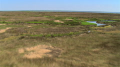 Low flight over marshy grassland toward water - stock footage