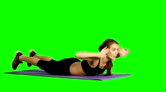 Sport woman abdominal exercises on fitness mat. Green screen, Gym Stock Footage