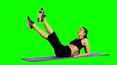 Woman doing strength exercises for abdominal muscles, Gym, Green screen Stock Footage