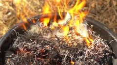 Bareque grill flame, hot burning grill, outdoors, start of - stock footage