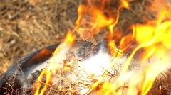 Bareque grill flame, hot burning grill, outdoors, start of, close up - stock footage