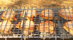 Grilled pork steaks over coals, on the brazier, side view Stock Footage