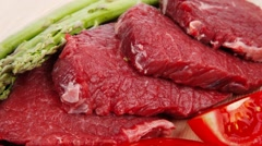 Raw beef meat steak Stock Footage