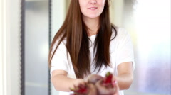 View of woman hands holding beetroots Stock Footage